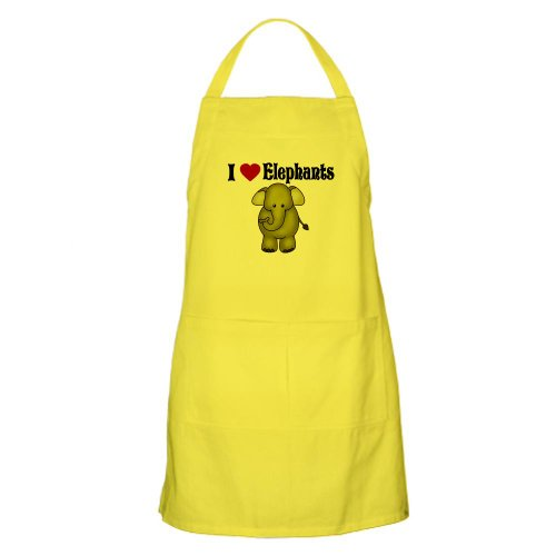 Cafepress I Love Elephants BBQ Apron - Standard