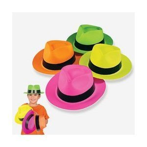 Neon Color Plastic Gangster Hats (1 dz) from Fun Express
