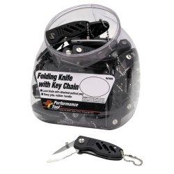 Mini Folding Knife W/Chain--Rubber Grip-- 50 Pk