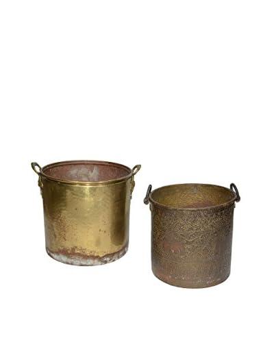 Uptown Down Set of 2 Found Brass Buckets