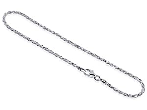Sterling Silver Rope Chain Anklet 10 inch Ankle Bracelet with Lobster Clasp
