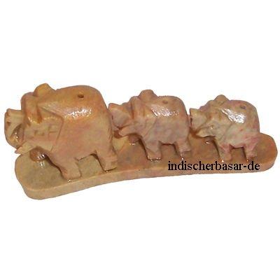 Porta inciensos cinco elefantes esteatita