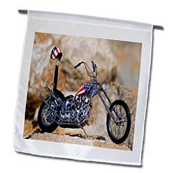 3dRose fl_100737_1 Easy Rider Patriotic Harley Davidson Bike with Red White N Blue Gear Garden Flag, 12 by 18-Inch