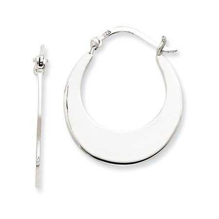 Flat Circle Hoop Earrings in Silver - 25mm (1
