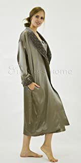 Silk Long Robe and Matching Long Slip Set with Velvet Accents - Mushroom