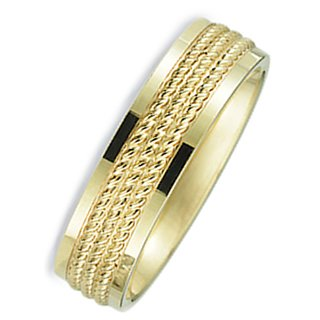 7.0 Millimeters 10Kt Yellow Gold Wedding Ring with Multi Rope Design Center and Bright Polished Flat Edges. Flat Comfort Fit Style SV663Y7, , Finger Size 10¼