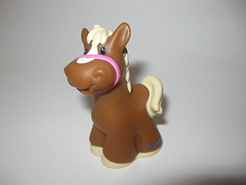 Fisher Price Little People Farm Animals, Replacement Pony, RARE Brown Horse, Pink Bridle, Smallest of the Ponies OOP 2010 - 1