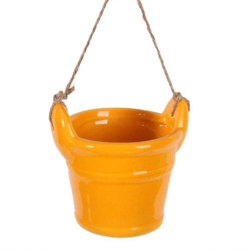 Deko Keramik Eimer zum Aufhängen in Gelb
