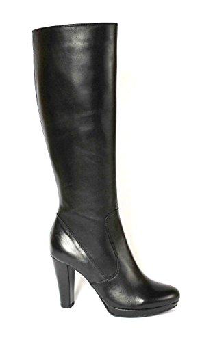 DIVINE FOLLIE 420371 nero stivale donna tubo pelle zip laterale tacco 39