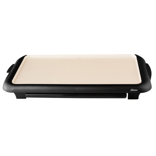 Great Deal! Oster CKSTGRFM18W-ECO DuraCeramic Griddle with Warming Tray, Black/Crème