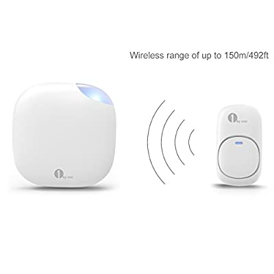 1byone Easy Chime Plug-in Wireless Doorbell Operating at 500 feet, CD Quality Sound and LED Flash, 36 Melodies to Choose, White
