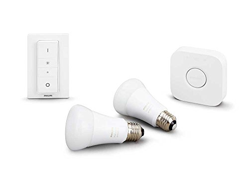 Philips 460989 Hue White Ambiance Starter Kit (2 A19 Bulbs, 1 Bridge, and 1 Dimmer Switch), Works with Amazon Alexa (Hue A19 Starter Kit compare prices)