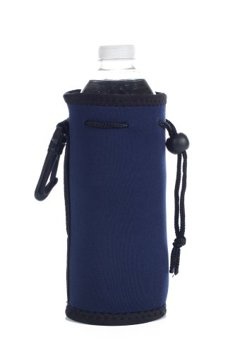 Neoprene Water Bottle Drawstring Insulator Cooler Koozie, Navy By Bags For Less front-586425