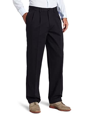 IZOD Men's Pleated Madison Pant, Navy, 30x30