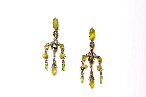24K Rose Gold Plated Irresistible Earrings from 'Green Serenity' Collection Designed by Amaro Jewelry Studio with Green Aventurine, Turquoise, Olive Jade, Lime Chrysophase, Variscite, Swarovski Crystals and Dangle Details