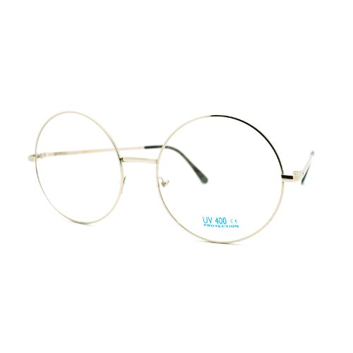 Super Oversized Round Circle Frame Clear Lens Glasses Silver (Round Vintage Glasses compare prices)