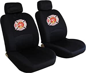 front low back seat covers set fire fighter firefighters maltese cross fire. Black Bedroom Furniture Sets. Home Design Ideas