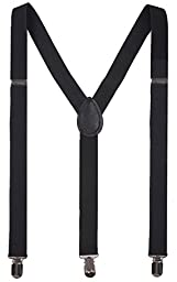 BODY STRENTH Adjustable Mens Suspenders Black Braces with Clips Solid Black