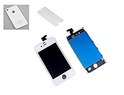Online For Good(TM) Complete LCD + Touch Digitizer Screen for Apple iPhone 4 with free Back panel and tempered Glass- White Color