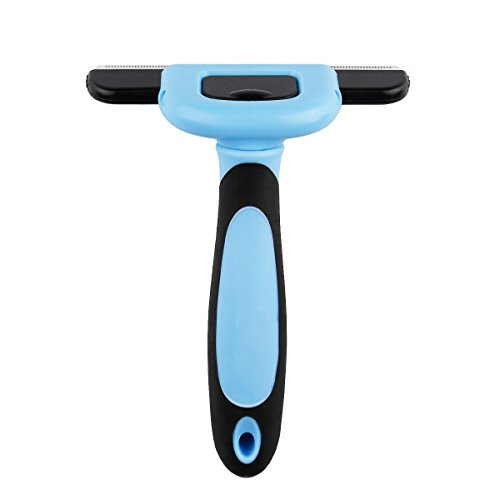 Balakie Pet Grooming Brush,Plastic Handle Stainless Steel Blade Deshedding Tool - Small, Medium & Large Dogs, Cats & Horses with Short and Long Hair - Reduces Loose Fur, Promotes Healthy Coat (Blue) (Portal Bath Tubs compare prices)