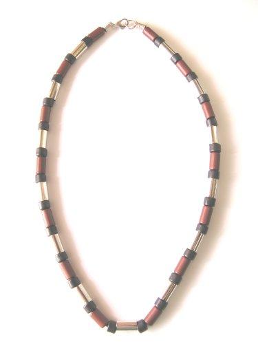 Unisex mens womens urban surfer Black Brown Silver bead necklace