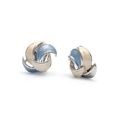 Rodney Holman Pastel Enamel Rhodium Petal Clip On Earrings