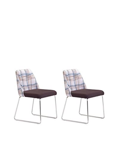 Zuo Modern Rave Set of 2 Dining Chairs, Line Pattern/Brown