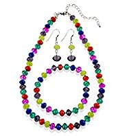 Multi-Faceted Bead Necklace, Bracelet & Earrings Set