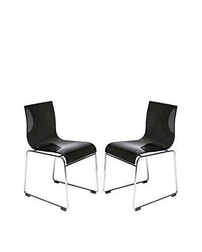 LeisureMod Set of 2 Lima Modern Acrylic Chairs, Transparent Black