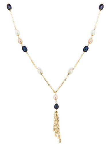 9ct Yellow Gold Grey, White and Purple Pearl Tassle Pendant Necklace of 46cm