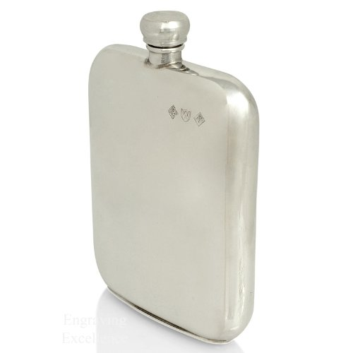 Personalised Engraved 6oz Pewter Hip Flask. Hallmarked and Made in Sheffield