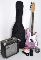 Ursa 1 JR RN PK MPP Purple Bass Guitar Package w/Amp and DVD