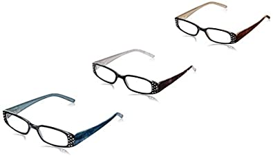 Solo Readers womens R7024 Reading Glasses (Pack of 3),Clear/Purple/Green,2.75