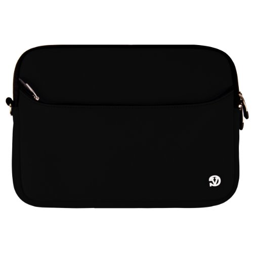 Stable Neoprene Sleeve with Exterior Accessory Reticule, (Black) for Sony VAIO VPC-EB43FX / BJ 15.5-Inch Widescreen Spectacle Laptop + SumacLife TM Wisdom Courage Wristband