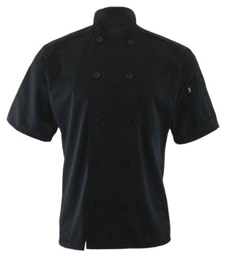 Edwards Garment 10 Button Short Sleeve Chef Coat_BLACK_Medium (Cheap Chef Coat compare prices)