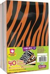 Fibre Craft Foam Sheets 5.4'X8.4' 40/Pkg Animal Prints/Assorted Plain 16/24/Pkg; 4 Items/Order