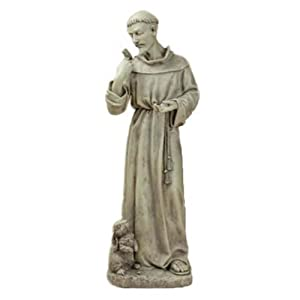 Joseph Studio 89944 Tall St. Francis with Bunny Garden Statue, 24-Inch