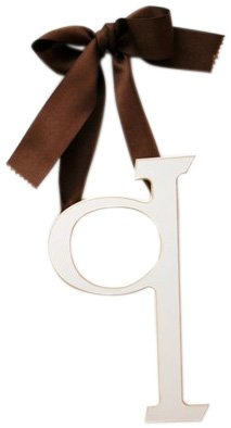 New Arrivals Wooden Letter Q with Solid Brown Ribbon, Cream
