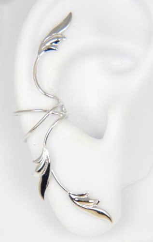 Sterling Silver 3 Delicate Leaves Full Ear Cuff for Right Ear