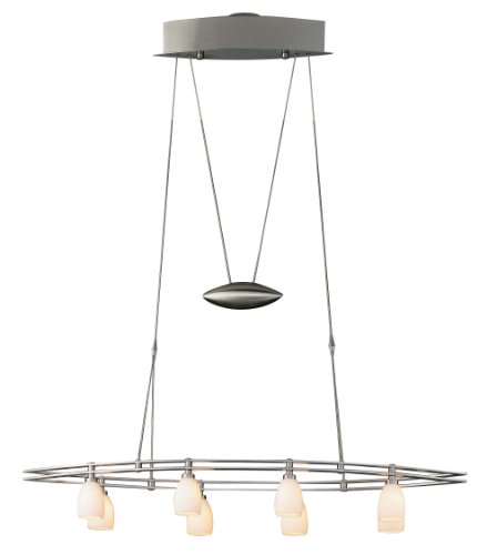 B001YRS2I0 Holtkoetter 5508 SN SW Halogen Low-voltage Chandelier, Satin Nickel with Satin White Glass