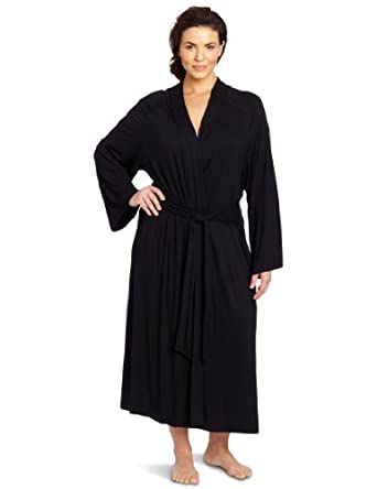 Casual Moments Women's Plus-Size  Shawl Collar Wrap Robe, Black, 1X