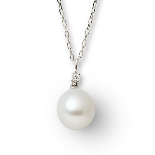VS Diamond with Pearl Pendant Necklace in 18ct White Gold