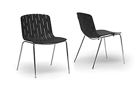 Florissa Black Plastic Modern Dining Chair with Chanasya Polish Cloth Bundle (Set of Two)