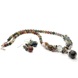 TJC Natural Stainless Steel Jewellery Set With Indian Agate Stone