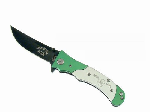 """3.5"""" Tiger Usa """"Luck O' The Irish"""" Spring Assisted Knife - Green & Silver"""