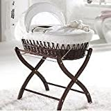 Izziwotnot White Gift Wicker Moses Basket, & Dark Wicker Stand Mahogany