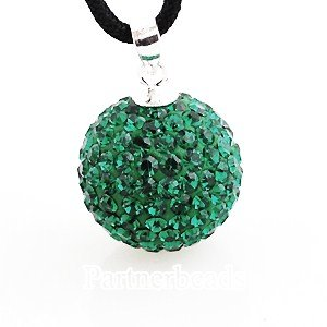 Pandora inspired 925 sterling silver May birthstone crystal necklace pendant with genuine swarovski crystals (Emerald green)) 14mm