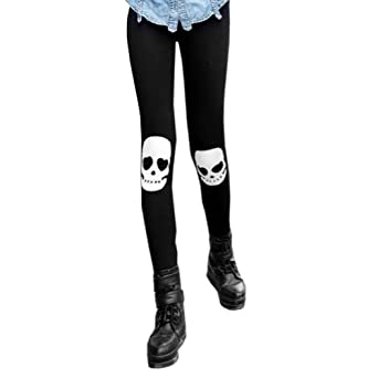 LOCOMO Women Skull Ankle Length Footless Pantyhose Legging Tregging Tight Pant Skinny Slim FFT031BLK One Size Black
