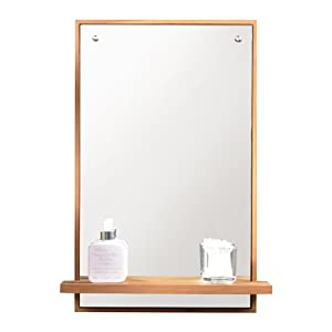 Solid Teak Bathroom Mirror With Shelf Attached 65x45 New Tikamoon