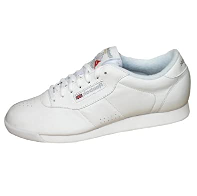 Reebok Classic Womens Princess Leather Casual Gym Trainers Shoes white ...